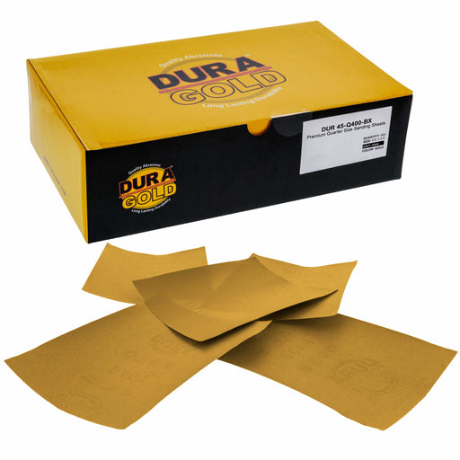 "Premium - 400 Grit Gold - 1/4 Sheet Plain Backing Sandpaper 5.5"" x 4.5"" -  Palm Sanders - Box of 400"