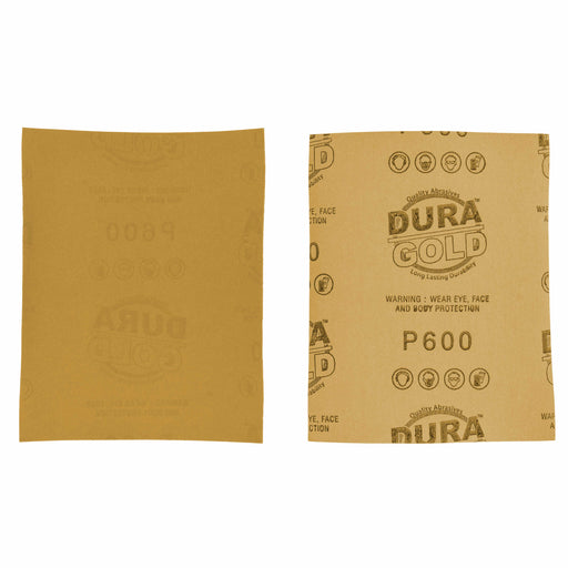 "Dura-Gold - Premium - 600 Grit Gold - 1/4 Sheet Plain Backing Sandpaper 5.5"" x 4.5"" - For Automotive & Wookworking Palm Sanders - Box of 400"