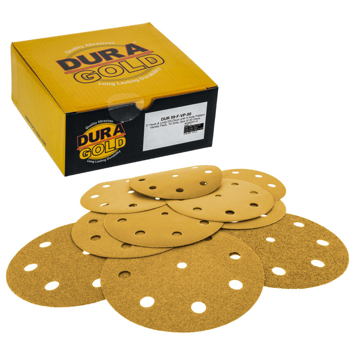 "Variety Grit Pack - 5"" Gold DA Sanding Discs - 9-Hole Pattern Hook and Loop - Box of 50"