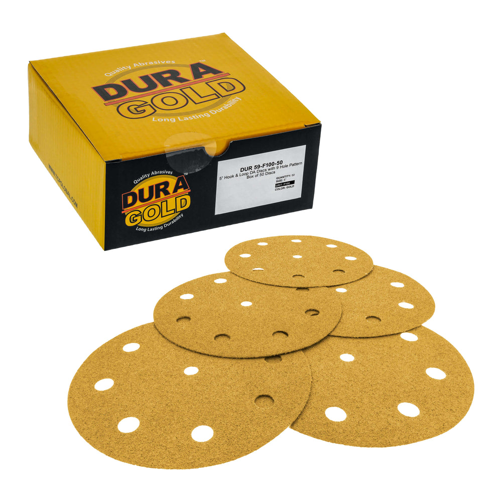 "100 Grit - 5"" Gold DA Sanding Discs - 9-Hole Pattern Hook and Loop - Box of 50"