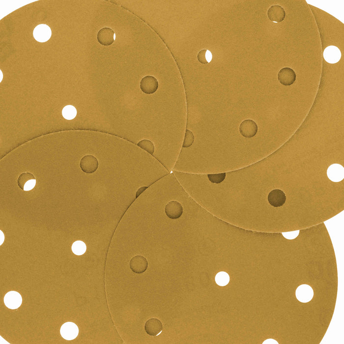 "180 Grit - 5"" Gold DA Sanding Discs - 9-Hole Pattern Hook and Loop - Box of 50"