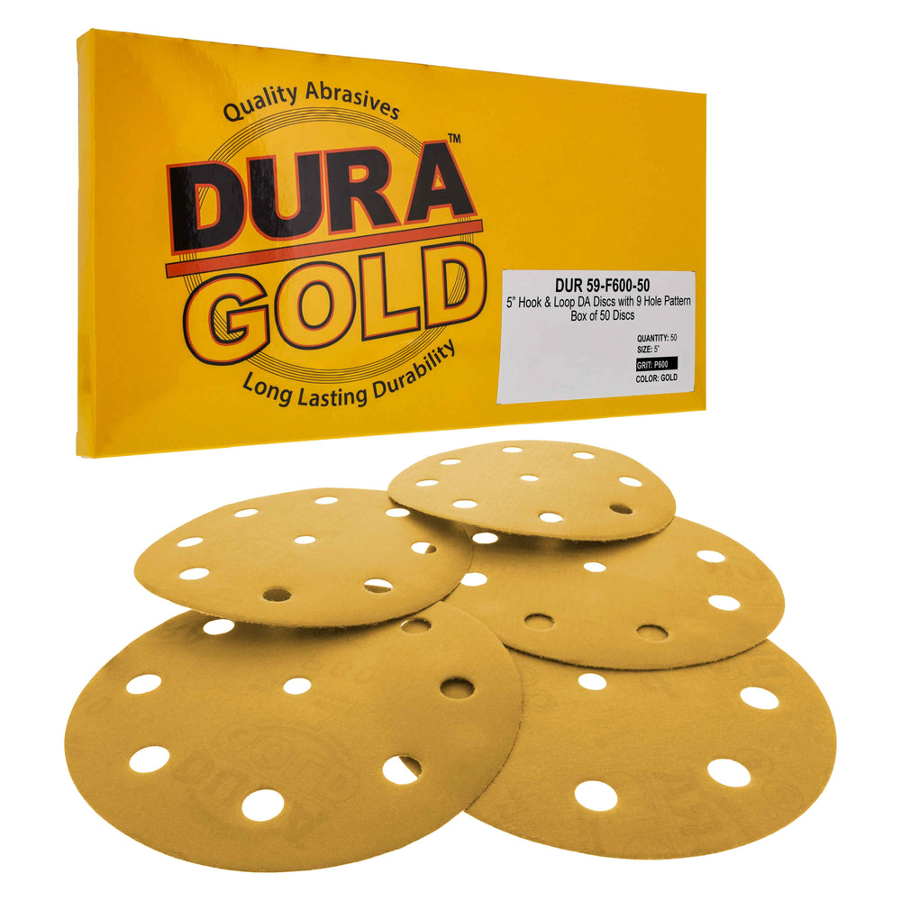 "600 Grit - 5"" Gold DA Sanding Discs - 9-Hole Pattern Hook and Loop - Box of 50"