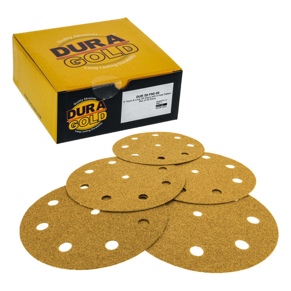 "80 Grit - 5"" Gold DA Sanding Discs - 9-Hole Pattern Hook and Loop - Box of 50"