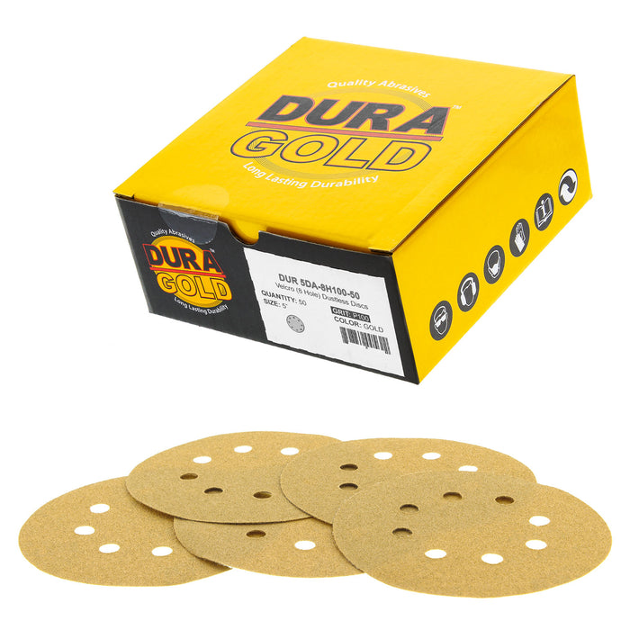 "100 Grit - 5"" Gold DA Sanding Discs - 8-Hole Pattern Hook and Loop - Box of 50"