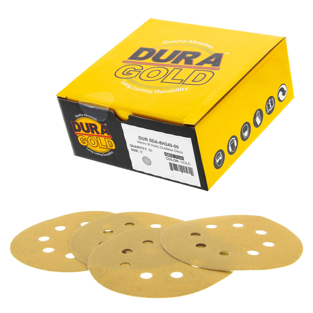 "240 Grit - 5"" Gold DA Sanding Discs - 8-Hole Pattern Hook and Loop - Box of 50"