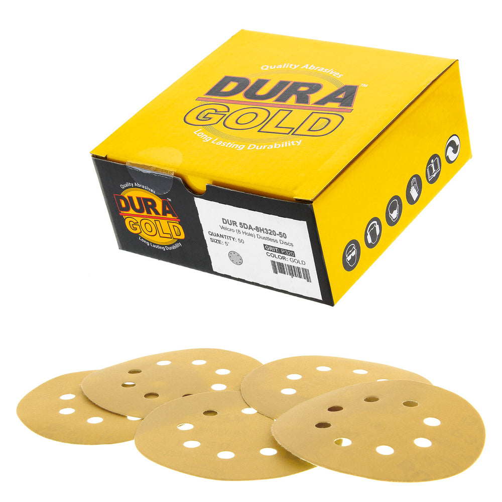 "320 Grit - 5"" Gold DA Sanding Discs - 8-Hole Pattern Hook and Loop - Box of 50"