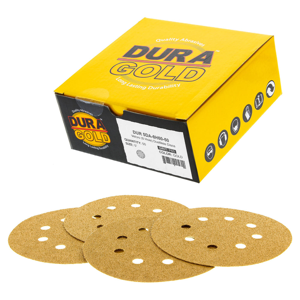 "60 Grit - 5"" Gold DA Sanding Discs - 8-Hole Pattern Hook and Loop - Box of 50"