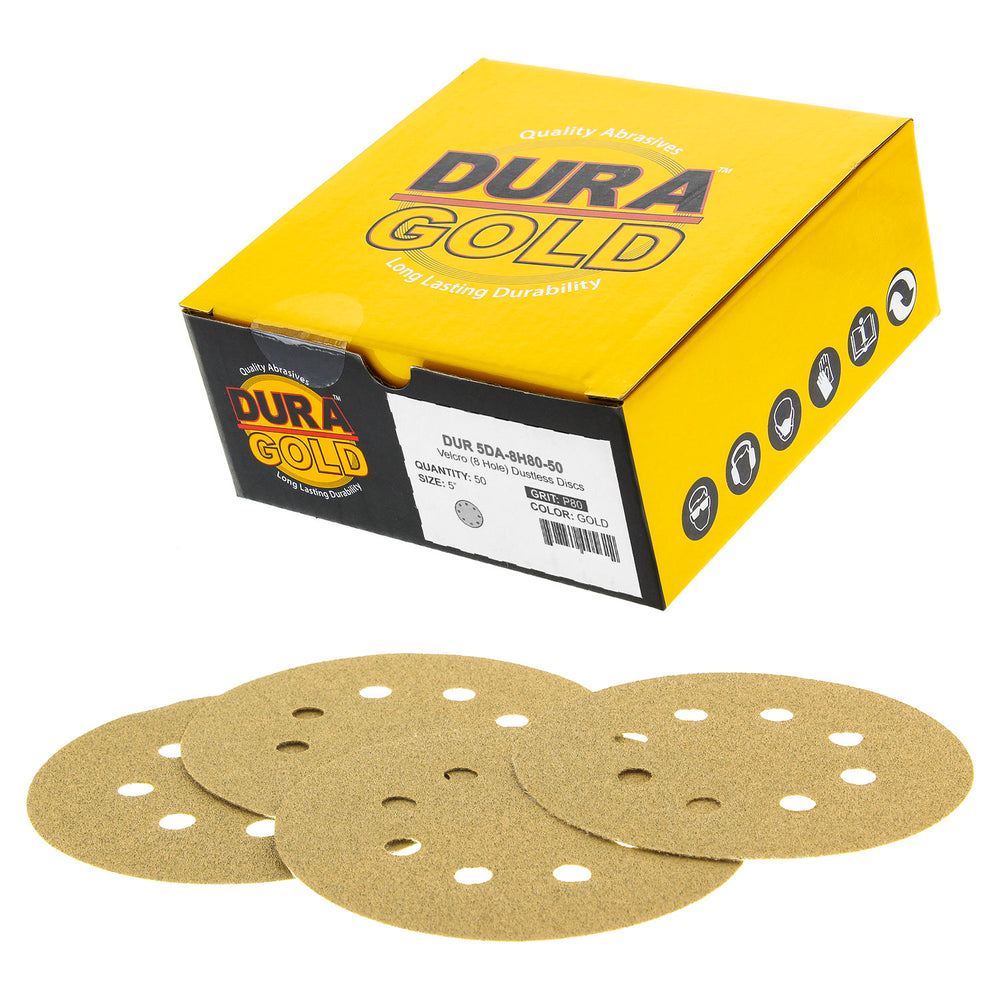 "80 Grit - 5"" Gold DA Sanding Discs - 8-Hole Pattern Hook and Loop - Box of 50"
