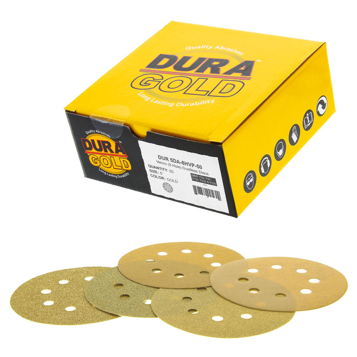 "Variety Grit Pack - 5"" Gold DA Sanding Discs - 8-Hole Pattern Hook and Loop - 10 each of Grit (60, 80, 120, 220, 320) - Box of 50"
