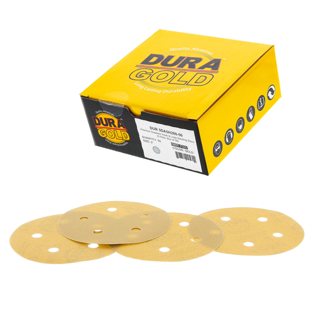 "280 Grit - 5"" Gold DA Sanding Discs - 5-Hole Pattern Hook and Loop - Box of 50"