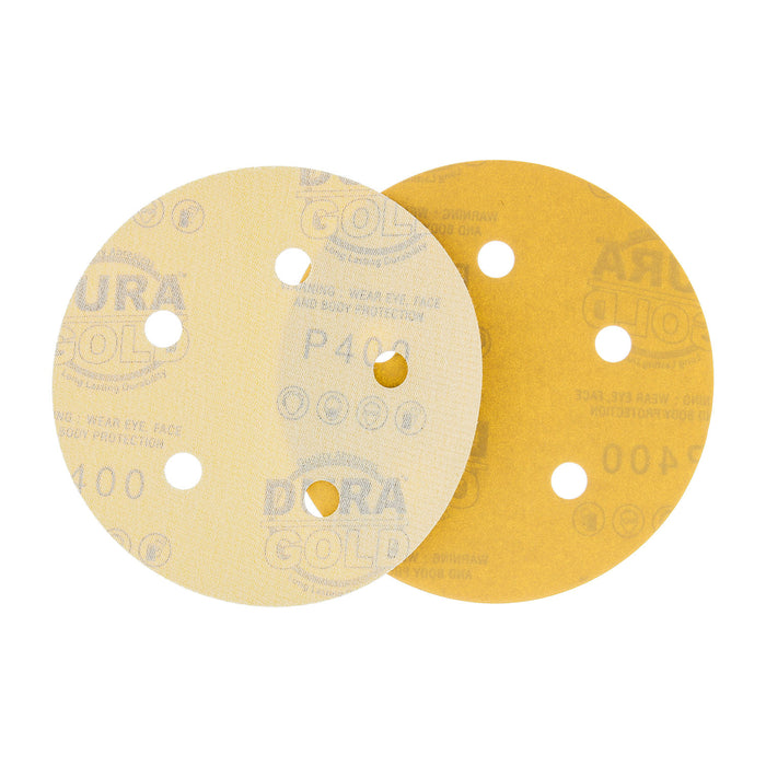 "400 Grit - 5"" Gold DA Sanding Discs - 5-Hole Pattern Hook and Loop - Box of 50"