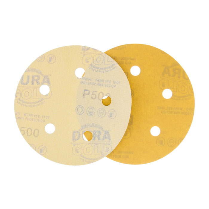 "500 Grit - 5"" Gold DA Sanding Discs - 5-Hole Pattern Hook and Loop - Box of 50"