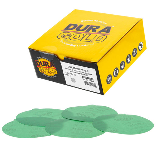 "1200 Grit - 5"" Green Film - PSA Self Adhesive Stickyback Sanding Discs for DA Sanders - Box of 50"