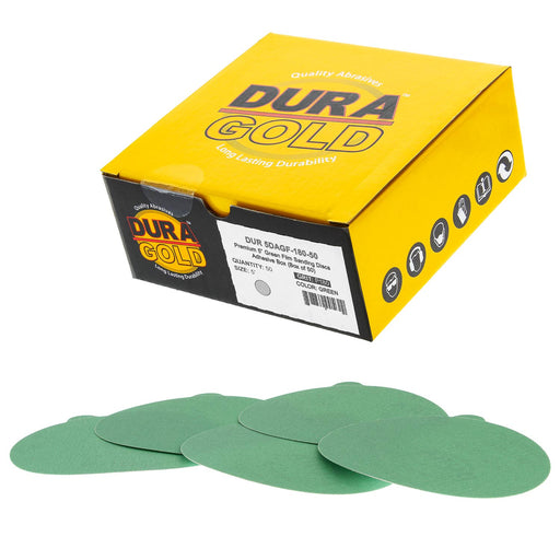 "180 Grit - 5"" Green Film - PSA Self Adhesive Stickyback Sanding Discs for DA Sanders - Box of 50"