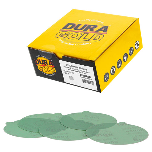 "3000 Grit - 5"" Green Film - PSA Self Adhesive Stickyback Sanding Discs for DA Sanders - Box of 50"
