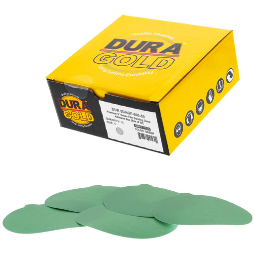 "500 Grit - 5"" Green Film - PSA Self Adhesive Stickyback Sanding Discs for DA Sanders - Box of 50"