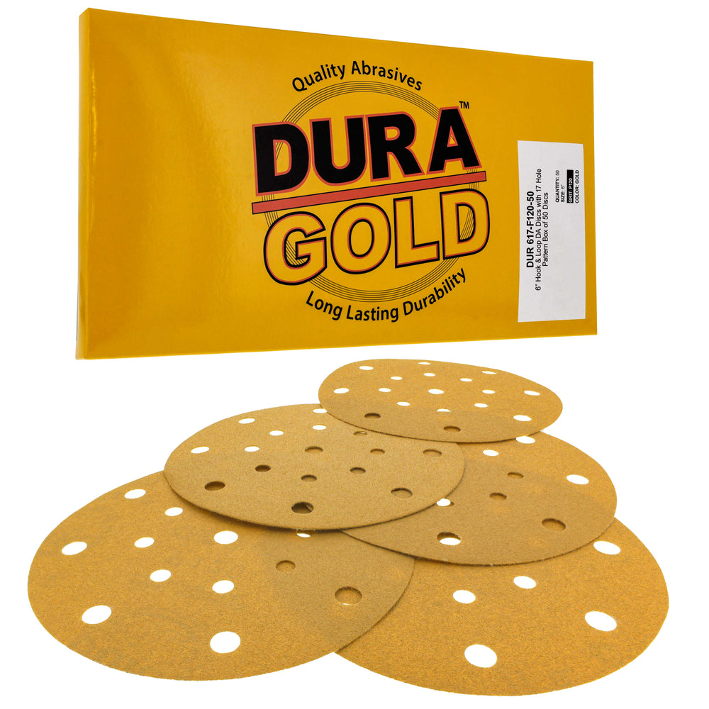"120 Grit - 6"" Gold Sanding Discs - 17-Hole Pattern Hook and Loop for DA Sander - Box of 50"