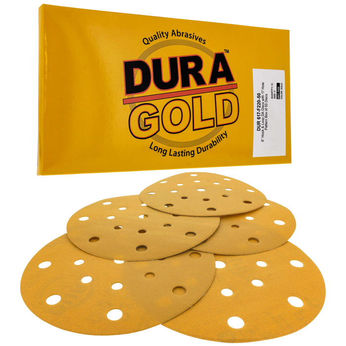 "220 Grit - 6"" Gold Sanding Discs - 17-Hole Pattern Hook and Loop for DA Sander - Box of 50"