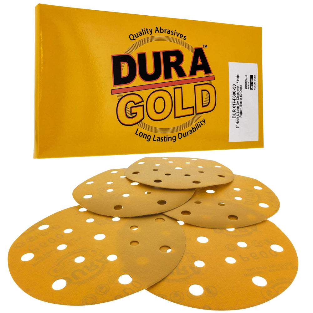 "600 Grit - 6"" Gold Sanding Discs - 17-Hole Pattern Hook and Loop for DA Sander - Box of 50"