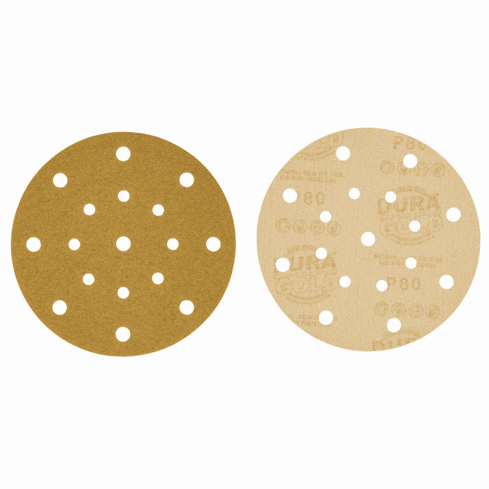 "80 Grit - 6"" Gold Sanding Discs - 17-Hole Pattern Hook and Loop for DA Sander - Box of 50"