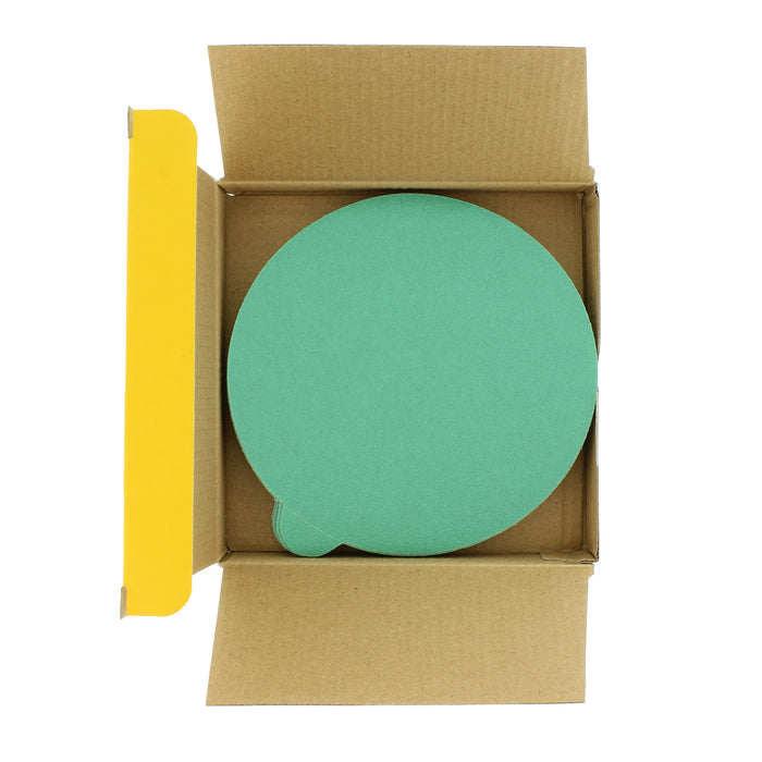 "120 Grit - 6"" Green Film - PSA Self Adhesive Stickyback Sanding Discs for DA Sanders - Box of 25"