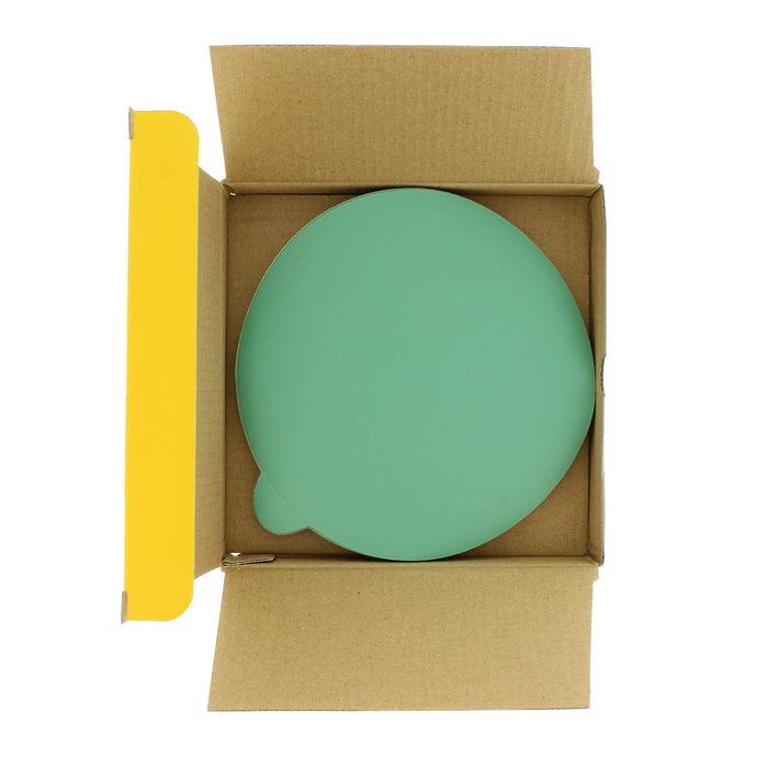 "320 Grit - 6"" Green Film - PSA Self Adhesive Stickyback Sanding Discs for DA Sanders - Box of 25"