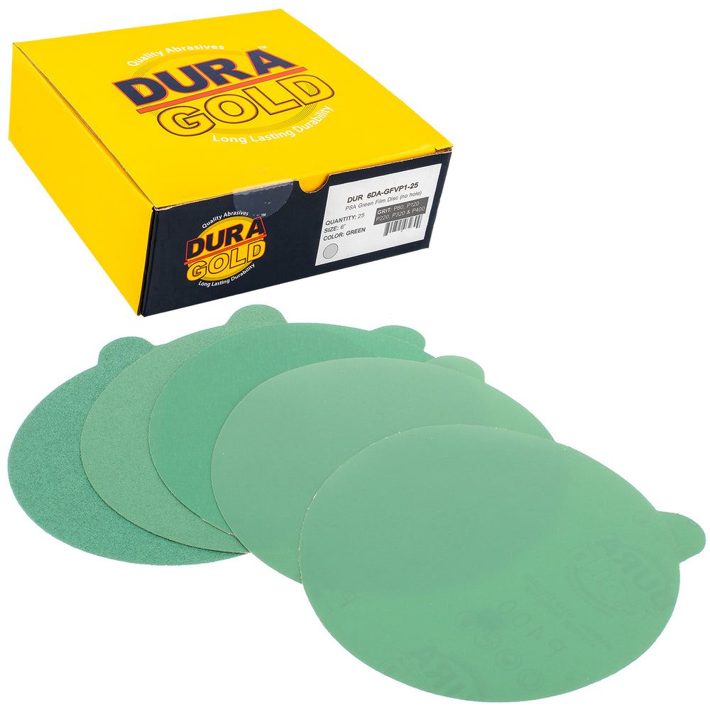 "Variety Grit Pack - 6"" Green Film - PSA Self Adhesive Stickyback Sanding Discs 5 of each grit (80, 120, 220, 320, 400) - Box of 25"
