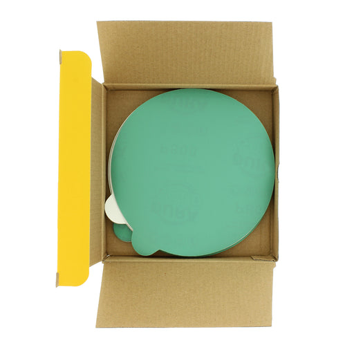 "Dura-Gold - Premium Film Back - Ultra Fine - Variety Pack 6"" Green Film - PSA Self Adhesive Stickyback Sanding Discs 5 of each grit (80, 120, 220, 320, 400) - Box of 25 Sandpaper Finishing Discs"