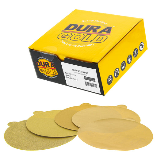 "Variety Grit Pack - 6"" Gold PSA Self Adhesive Stickyback Sanding Discs for DA Sanders -10 of each Grit (80, 150, 220, 320, 400) Box of 50"