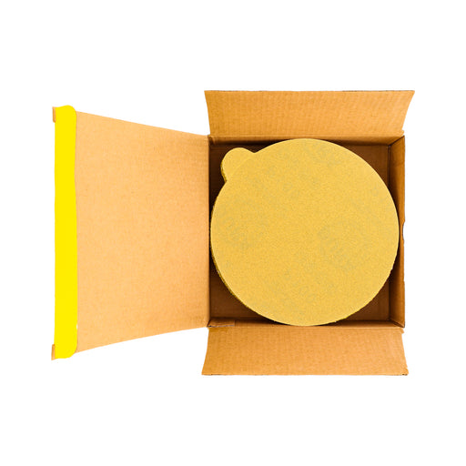 "100 Grit - 6"" Gold PSA Self Adhesive Stickyback Sanding Discs for DA Sanders - Box of 50"