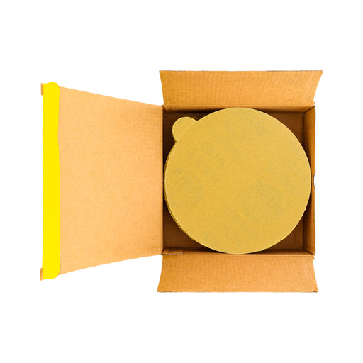 "120 Grit - 6"" Gold PSA Self Adhesive Stickyback Sanding Discs for DA Sanders - Box of 50"