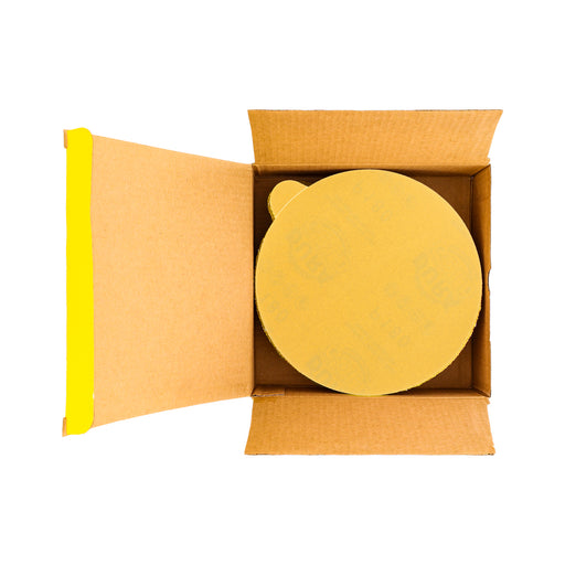 "180 Grit - 6"" Gold PSA Self Adhesive Stickyback Sanding Discs for DA Sanders - Box of 50"