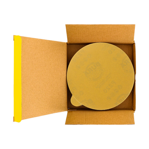 "220 Grit - 6"" Gold PSA Self Adhesive Stickyback Sanding Discs for DA Sanders - Box of 50"