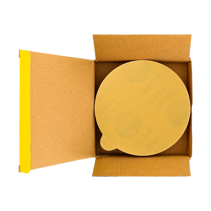 "320 Grit - 6"" Gold PSA Self Adhesive Stickyback Sanding Discs for DA Sanders - Box of 50"
