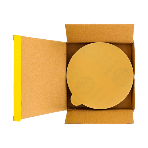 "400 Grit - 6"" Gold PSA Self Adhesive Stickyback Sanding Discs for DA Sanders - Box of 50"