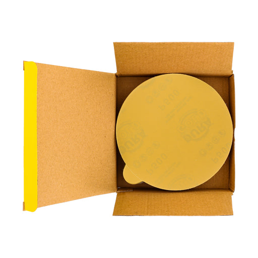 "500 Grit - 6"" Gold PSA Self Adhesive Stickyback Sanding Discs for DA Sanders - Box of 50"