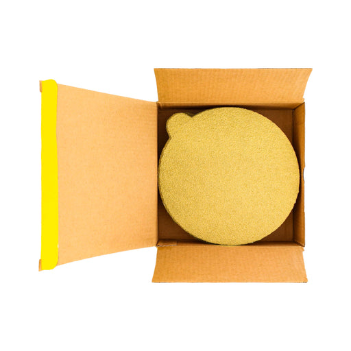 "60 Grit - 6"" Gold PSA Self Adhesive Stickyback Sanding Discs for DA Sanders - Box of 25"