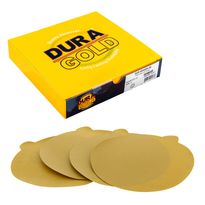 "600 Grit - 6"" Gold PSA Self Adhesive Stickyback Sanding Discs for DA Sanders - Box of 50"