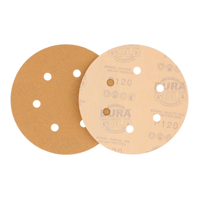 "120 Grit - 6"" Gold Hook & Loop 6-Hole Pattern Sanding Discs for DA Sanders - Box of 50"
