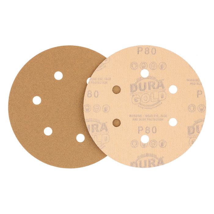 "80 Grit - 6"" Gold Hook & Loop 6-Hole Pattern Sanding Discs for DA Sanders - Box of 50"