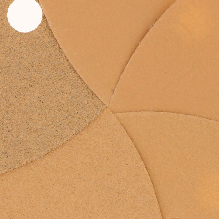 "Variety Grit Pack - (80,120,220,320,400) - 6"" Gold Hook & Loop 6-Hole Pattern Sanding Discs for DA Sanders - Box of 50"