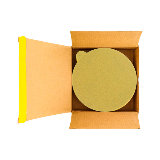 "80 Grit - 6"" Gold PSA Self Adhesive Stickyback Sanding Discs for DA Sanders - Box of 50"