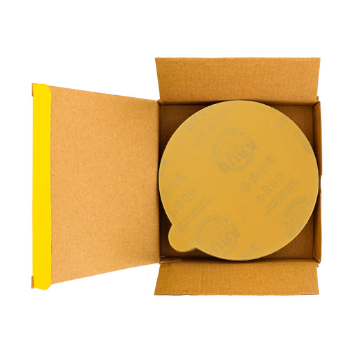 "800 Grit - 6"" Gold PSA Self Adhesive Stickyback Sanding Discs for DA Sanders - Box of 50"