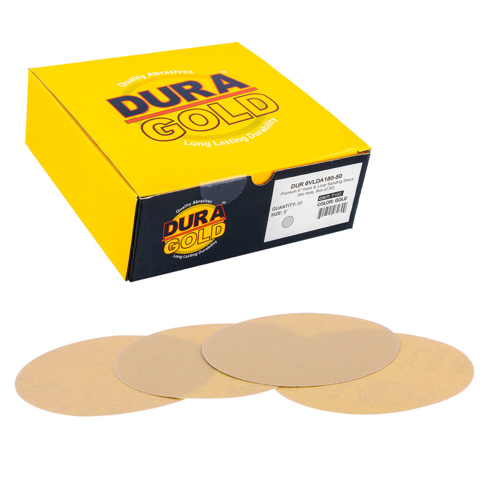 "180 Grit - 6"" Gold Hook & Loop No Hole Pattern Sanding Discs for DA Sanders - Box of 50"