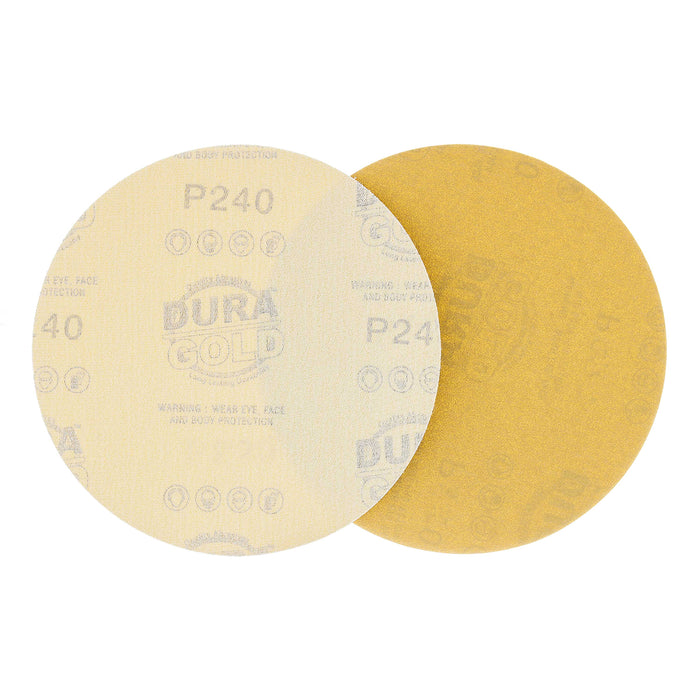 "240 Grit - 6"" Gold Hook & Loop No Hole Pattern Sanding Discs for DA Sanders - Box of 50"