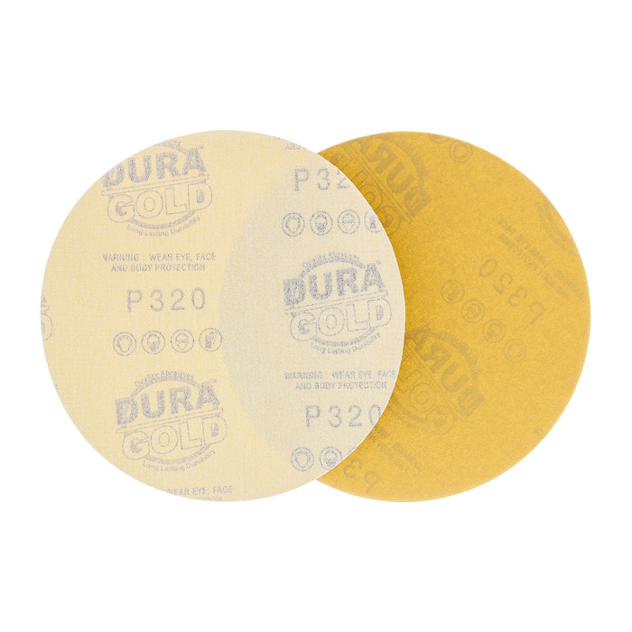 "320 Grit - 6"" Gold Hook & Loop No Hole Pattern Sanding Discs for DA Sanders - Box of 50"