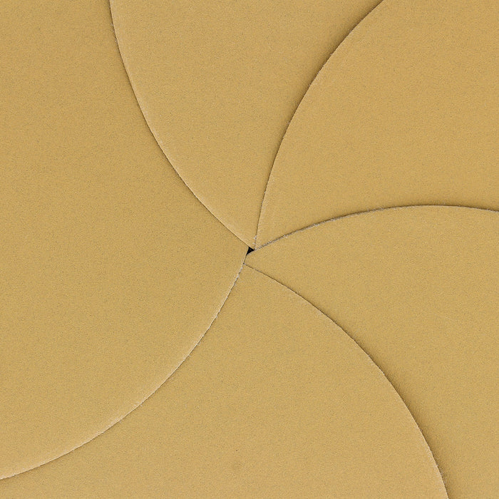 "400 Grit - 6"" Gold Hook & Loop No Hole Pattern Sanding Discs for DA Sanders - Box of 50"