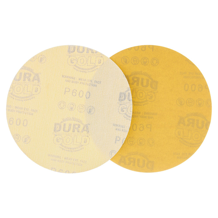 "600 Grit - 6"" Gold Hook & Loop No Hole Pattern Sanding Discs for DA Sanders - Box of 50"