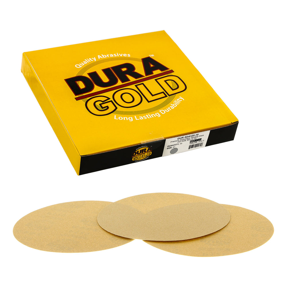 "Dura-Gold - Premium - 120 Grit 8"" Gold PSA Self Adhesive Stickyback Sanding Discs for DA Sanders - Box of 10 Sandpaper Finishing Discs for Automotive and Woodworking"