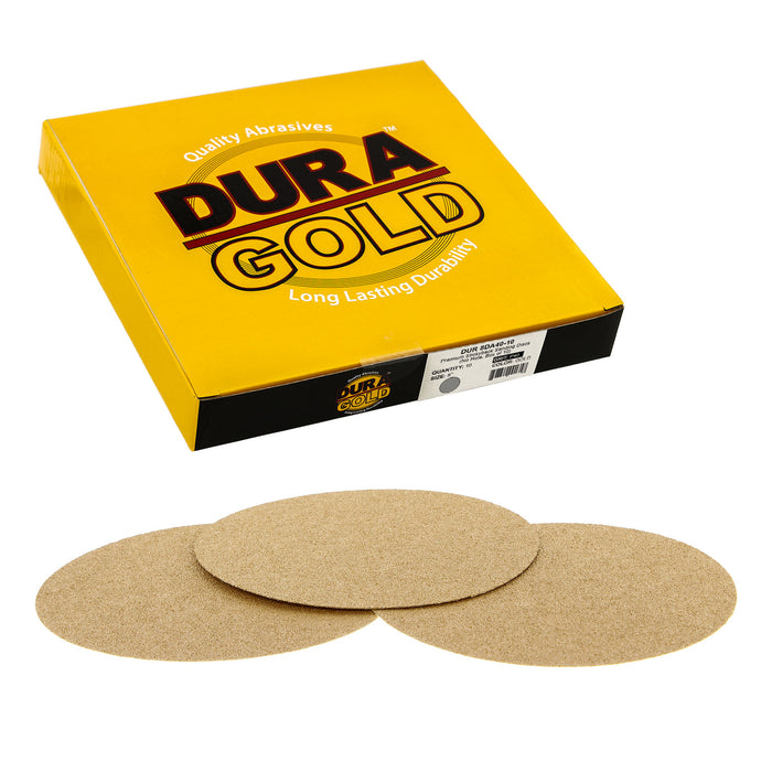 "Dura-Gold - Premium - 40 Grit 8"" Gold PSA Self Adhesive Stickyback Sanding Discs for DA Sanders - Box of 10 Sandpaper Finishing Discs for Automotive and Woodworking"